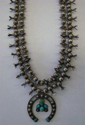 12: Silver Native American Squash Blossom Necklace, App