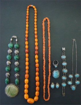 13: Amber Beads, Coral Beads, Green Stone Necklace &  S