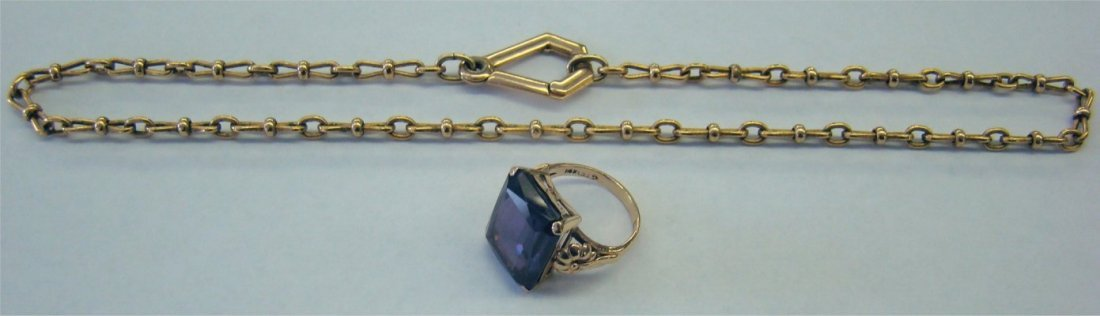 14: 14K Gold Chain & 14K Gold Ring With Amethyst