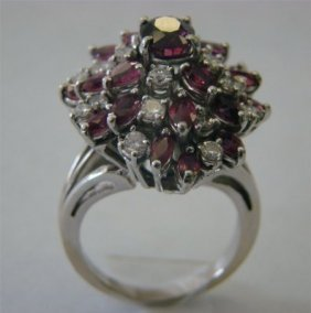 14K White Gold Cocktail Ring With Rubies (4.66 Cara