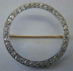 16: Platinum & Diamond Ladies Circle Pin, Approximately