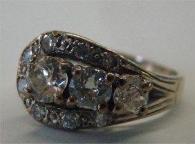 19: 14K Gold Ladies Diamond Horse Shoe Cluster Ring