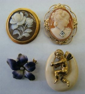 21: Two Shell Carved Cameos, Enamel Flower Pin & 14K Ch