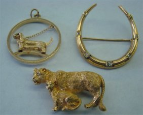 24: Leopard Pin w/ Diamonds, Horse Shoe Pin & Dog Charm