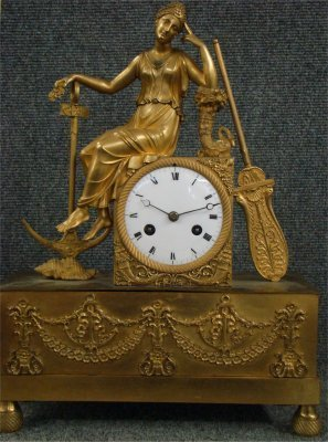 """285: French Figural Fire Gilded Bronze Clock With """"Hope"""