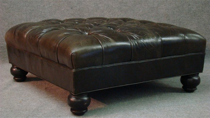 329: Large Contemporary Tufted Leather Ottoman