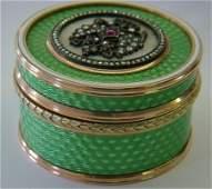 14K Gold & Enamel Box With Rose Cut Diamonds