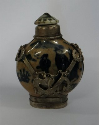 Silver Clad Chinese Snuff Bottle