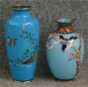 """Two Japanese Cloisonne Vases, Largest 7 1/2"""" Tall"""