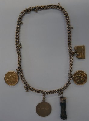 Chain With Charms, Sovereign & $5.00 Gold Piece