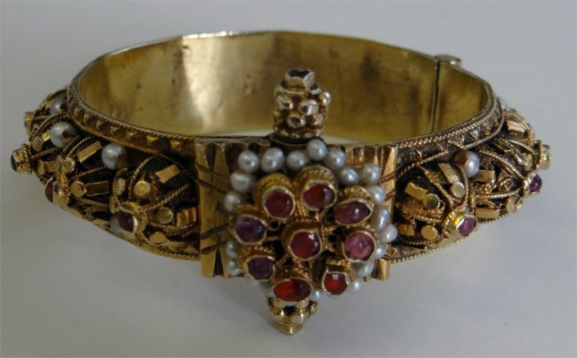 14K Yellow Gold Bracelet With Pearls & Rubies