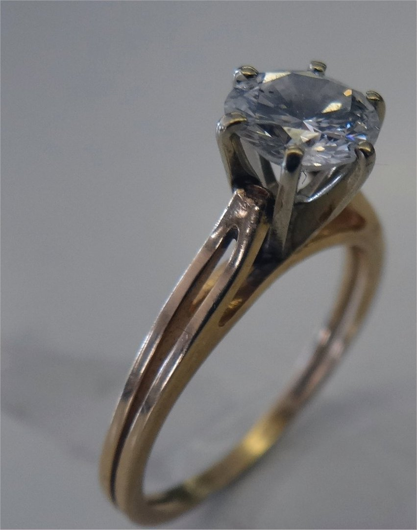 Diamond Solitaire Set In 14k Yellow Gold