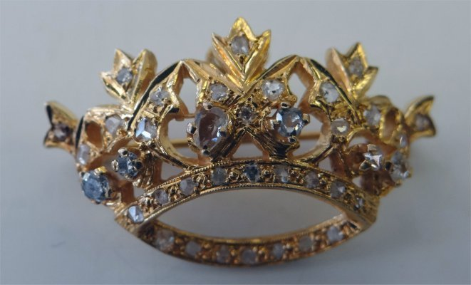 14k Yellow Gold & Diamond Crown Brooch/Pendant