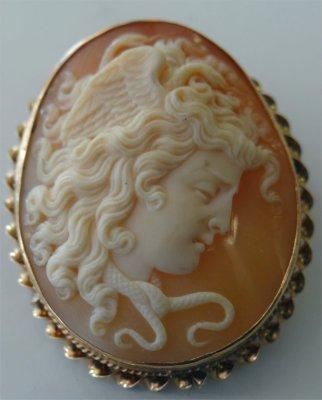 Shell Carved Cameo Of The Goddess Medusa