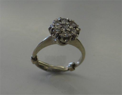 Seven Stone Diamond Cluster Ring Set In 14K White Gold
