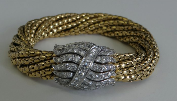 14k Yellow Gold Rope Bracelet With Diamond Cluster