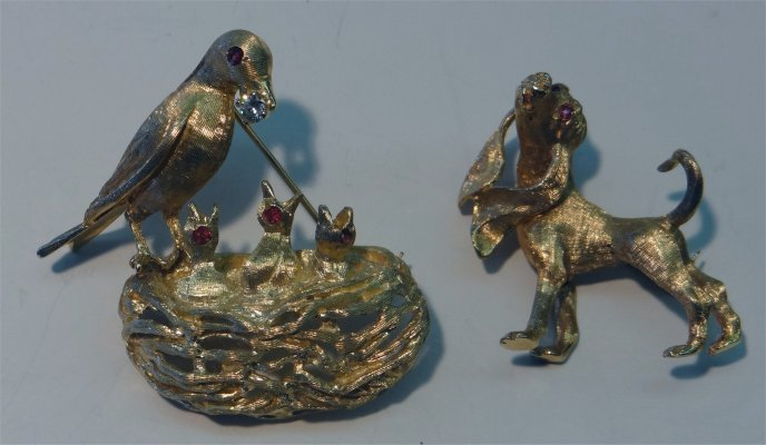 2 14k Yellow Gold Pins:  Dog With Rubies & Bird