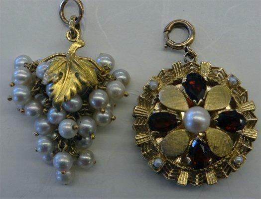 """""""Cluster Of Grapes"""" Pearl Pin & 14k & Garnet Pin"""