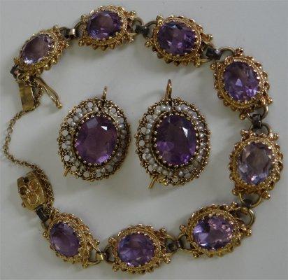 Amethyst & Seed Pearl Bracelet & Earrings