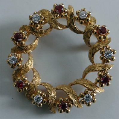 Birks 18K Yellow Gold Wreath Pin With Diamonds & Rubies