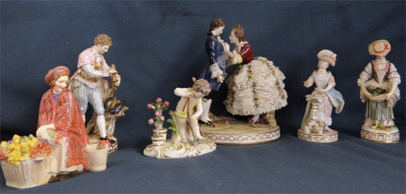 6 Figures:  Four Meissen, One Capo De Monte, etc