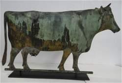 19th C. Cow Weathervane Copper:Cast Zinc Horns & Ears