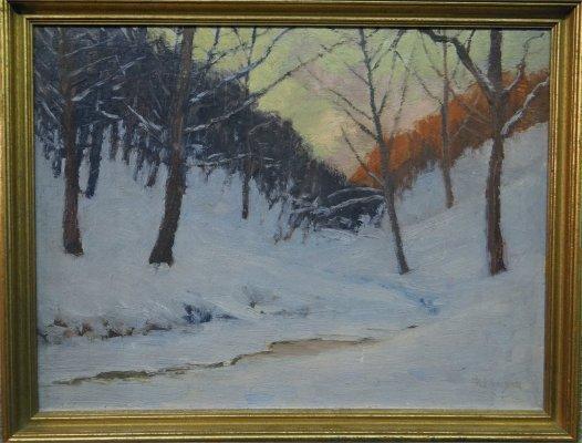 "Oil On Board ""Snow Scene"" Signed R. F. Gilder"