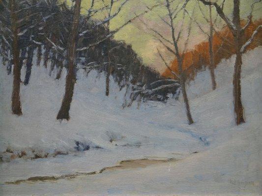 "Oil On Board ""Snow Scene"" Signed R. F. Gilder - 2"