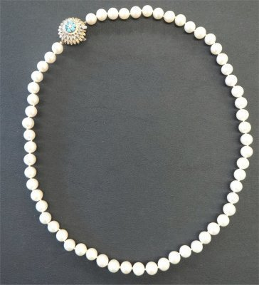 "21"" Pearls With Gold, Diamond & Turquoise Clasp,"