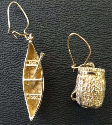 Pair Of Canoe & Backpack 14K Yellow Gold Earrings, 4.5