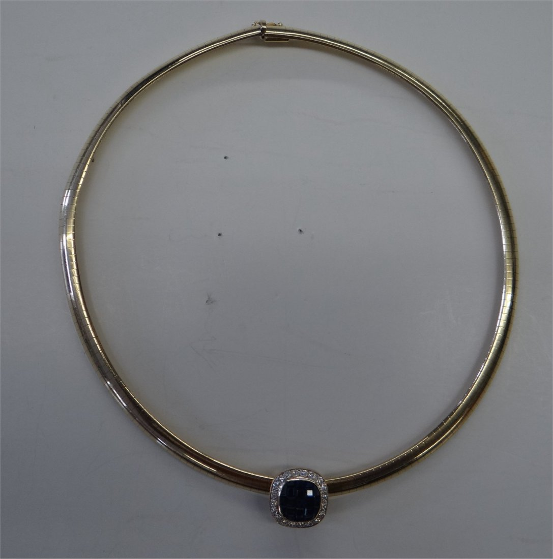 14K Gold Choker Marked Italy With Sapphire & Diamond