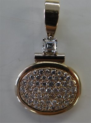 14K Yellow Gold Diamond Slide Pendent
