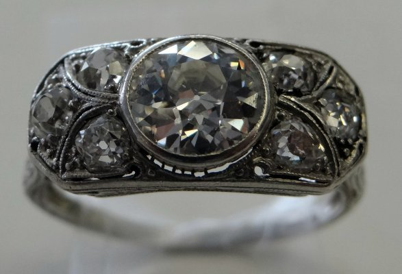 Diamond Ring In Deco Setting, Center Stone