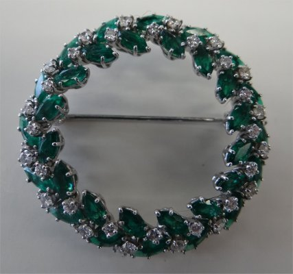 """Harry Winston"" Wreath Pin With Diamonds & Emeralds, 1"