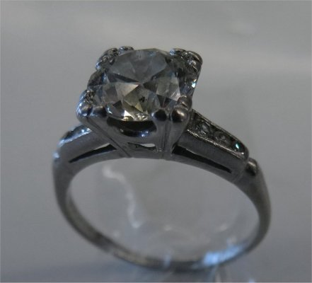 Diamond Solitaire With Six Small Cut Diamonds