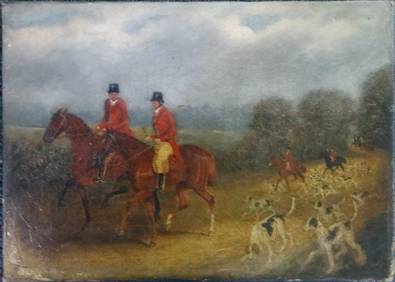 "Oil On Canvas ""English Hunting Scene"", 10"" X 14"""