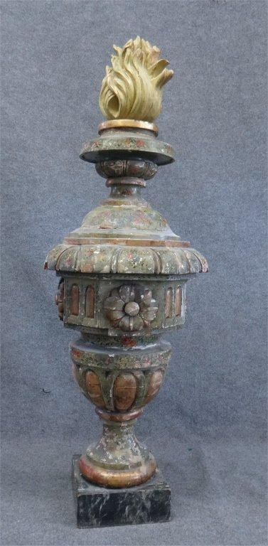 ITALIAN PAINTED CARVED WOOD URN W/ FLAME FINIAL