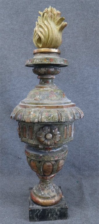 ITALIAN PAINTED CARVED WOOD URN W/ FLAME FINIAL - 2