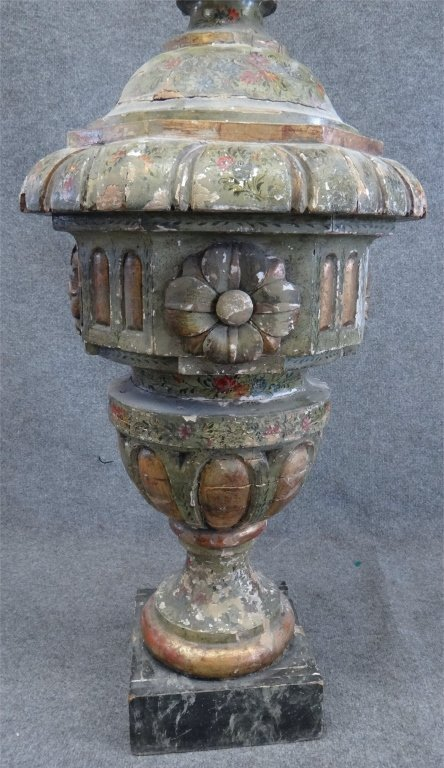 ITALIAN PAINTED CARVED WOOD URN W/ FLAME FINIAL - 4