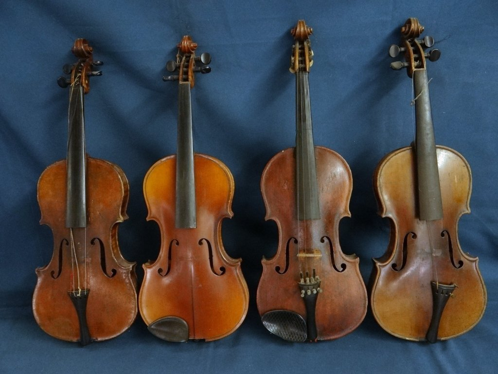 4 GERMAN VIOLINS, 1 MARKED #25 H.B. CONSERVATORY
