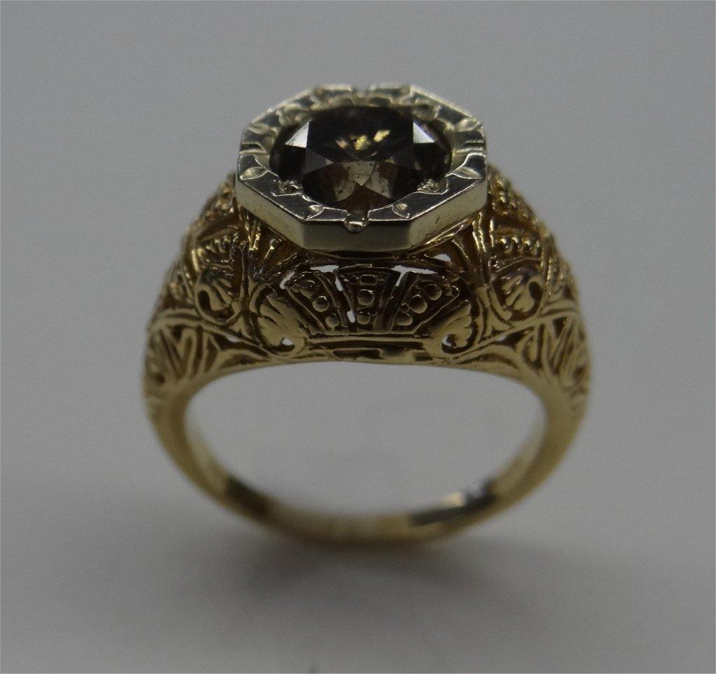 FANCY COLORED DIAMOND RING SET IN 14K GOLD