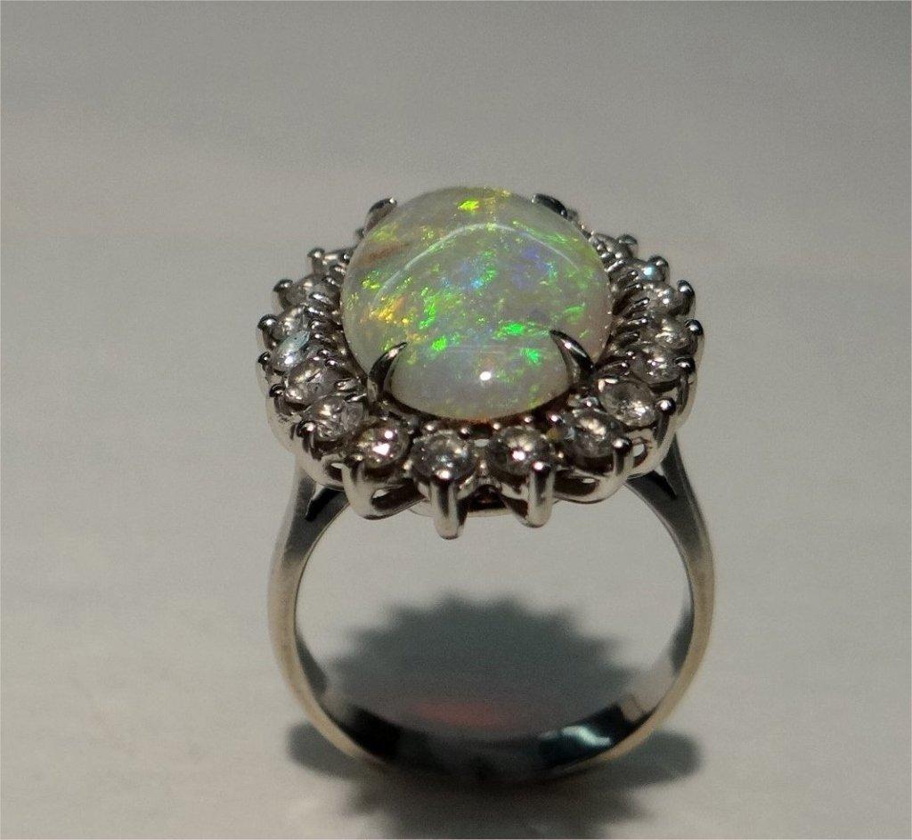 OPAL & DIAMOND RING SET IN 14 K GOLD