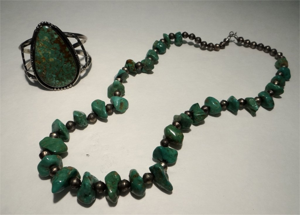 TURQUOISE & SILVER BRACELET & TURQUOISE NECKLACE