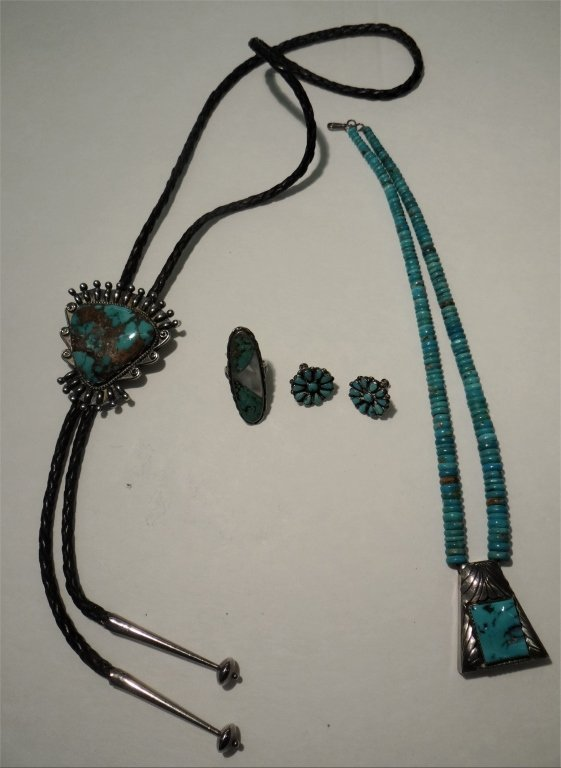 4 PCS OF SILVER & TURQUOISE JEWELRY
