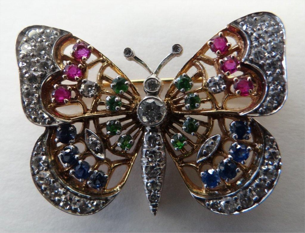 DIAMOND, SAPPHIRE, EMERALD & RUBY BUTTERFLY PIN