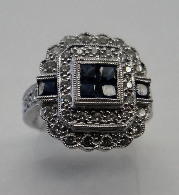 DIAMOND & SAPPHIRE COCKTAIL RING IN 14K WHITE GOLD