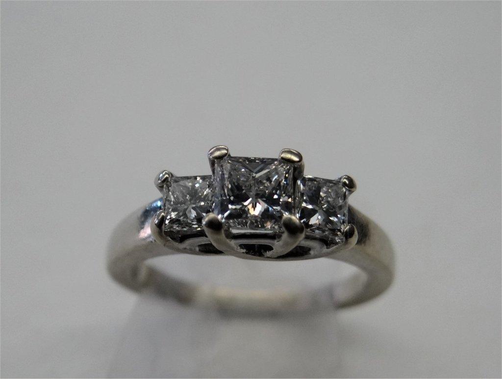 DIAMOND SQUARE CUT 3 STONE RING  IN 14K WHITE GOLD