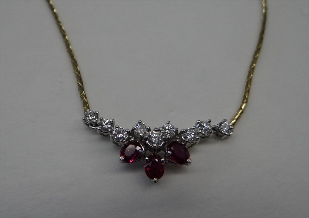 """17"""" RUBY & DIAM. NECKLACE ON 18K GOLD SNAKE CHAIN"""