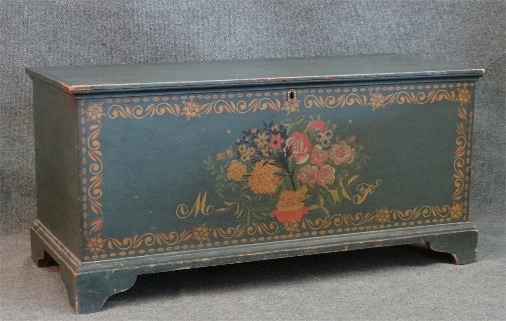 """ALBANY COUNTY PAINT DECORATED BLANKET BOX 42"""" LONG"""