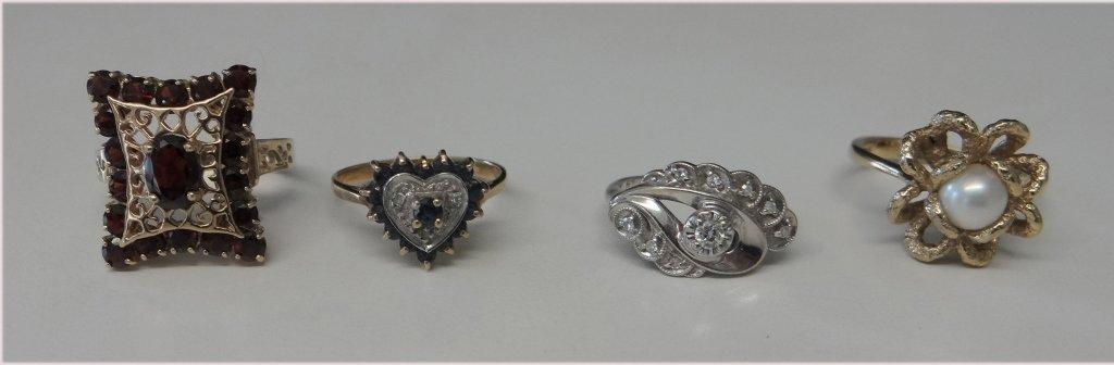 4 RINGS: GARNET, DIAMOND, PEARL & SAPPHIRE